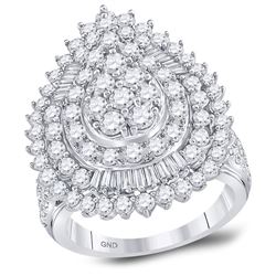 3 CTW Womens Round Diamond Teardrop Pear Cluster Ring 14kt White Gold - REF-211H4R