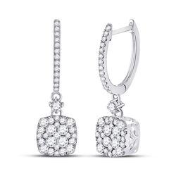 1 CTW Womens Round Diamond Square Dangle Earrings 14kt White Gold - REF-95X5T