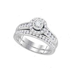 1 CTW Round Diamond Bridal Wedding Ring 14kt White Gold - REF-115X8T