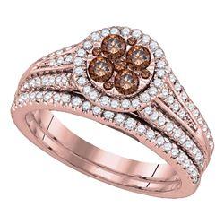 1 CTW Womens Round Brown Diamond Bridal Wedding Ring 14kt Rose Gold - REF-112R4X