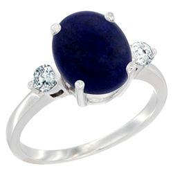 2.70 CTW Lapis Lazuli & Diamond Ring 10K White Gold - REF-60W3F