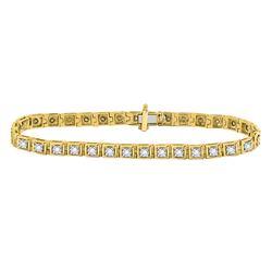 3/4 CTW Womens Round Diamond Fashion Tennis Bracelet 10kt Yellow Gold - REF-92Y3N
