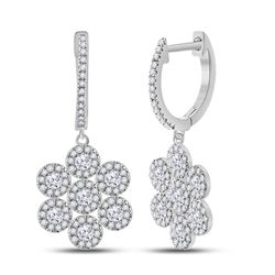 1 CTW Womens Round Diamond Dangle Earrings 10kt White Gold - REF-61W4H