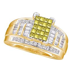 1 & 1/2 CTW Princess Yellow Color Enhanced Diamond Bridal Wedding Ring 14kt Yellow Gold - REF-136A4M