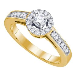 1/2 CTW Round Diamond Solitaire Bridal Wedding Engagement Ring 14kt Yellow Gold - REF-76T9V