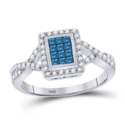 1/2 CTW Womens Princess Blue Color Enhanced Diamond Cluster Ring 10kt White Gold - REF-38W2H