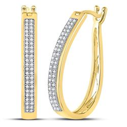 1/4 CTW Womens Round Diamond Oblong Hoop Earrings 10kt Yellow Gold - REF-34N3A