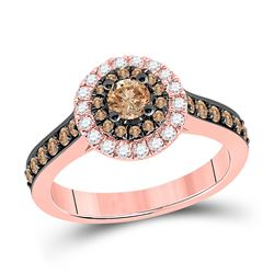 7/8 CTW Round Brown Diamond Solitaire Bridal Wedding Engagement Ring 14kt Rose Gold - REF-81V7Y