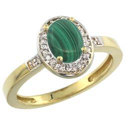 0.90 CTW Malachite & Diamond Ring 14K Yellow Gold - REF-37M3A