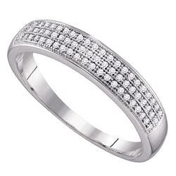 1/5 CTW Mens Round Diamond Wedding Pave Band Ring 10kt White Gold - REF-23V3Y