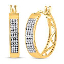 1/4 CTW Womens Round Diamond Triple Row Hoop Earrings 10kt Yellow Gold - REF-29T9V