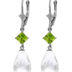 Genuine 11 ctw White Topaz & Peridot Earrings 14KT White Gold - REF-39R3P