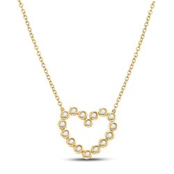 1/4 CTW Womens Round Diamond Outline Heart Necklace 14kt Yellow Gold - REF-40Y8N