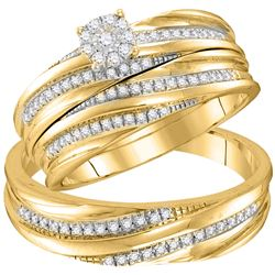 1/3 CTW His Hers Round Diamond Solitaire Matching Wedding Set 10kt Yellow Gold - REF-44V4Y