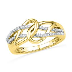 1/6 CTW Womens Round Diamond Infinity Loop Knot Lasso Ring 10kt Yellow Gold - REF-26Y5N