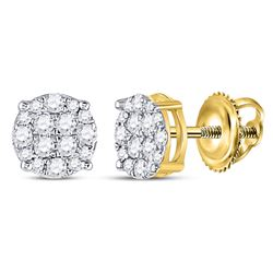 1/4 CTW Mens Round Diamond Cluster Earrings 10kt Yellow Gold - REF-17V6Y