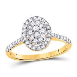 1/2 CTW Round Diamond Cluster Bridal Wedding Engagement Ring 10kt Yellow Gold - REF-47F3W