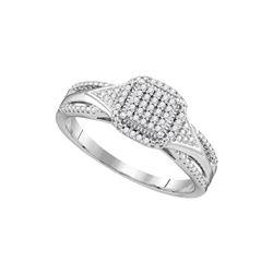 1/10 CTW Round Diamond Cluster Bridal Wedding Engagement Ring 10kt White Gold - REF-20Y5N