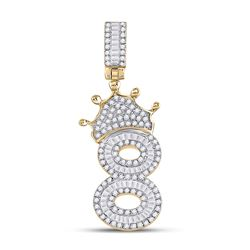 3/4 CTW Mens Round Diamond Number 8 Crown Charm Pendant 10kt Yellow Gold - REF-38F2W