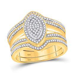 1/3 CTW Round Diamond 3-Piece Bridal Wedding Ring 10kt Yellow Gold - REF-45A2M