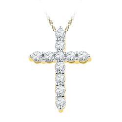 1/3 CTW Womens Round Diamond Cross Religious Pendant 10kt Yellow Gold - REF-24H5R