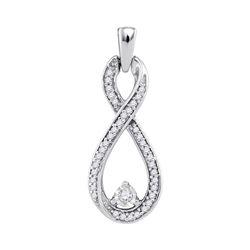 1/6 CTW Womens Round Diamond Infinity Pendant 10kt White Gold - REF-13A5M