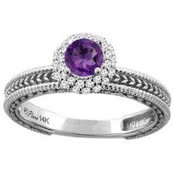 0.67 CTW Amethyst & Diamond Ring 14K White Gold - REF-53V3R