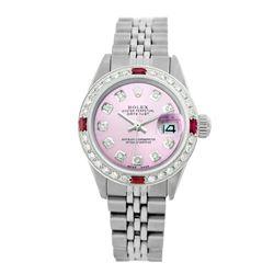 Rolex Pre-owned 26mm Womens Custom Pink Stainless Steel