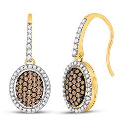 3/4 CTW Womens Round Brown Diamond Dangle Earrings 10kt Yellow Gold - REF-40R8X