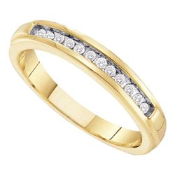 1/8 CTW Womens Round Diamond Single Row Band Ring 10kt Yellow Gold - REF-16M4F