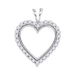 1/4 CTW Womens Round Diamond Heart Outline Pendant 10kt White Gold - REF-20H5R