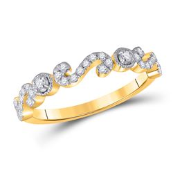 1/4 CTW Womens Round Diamond Band Ring 10kt Yellow Gold - REF-25X9T