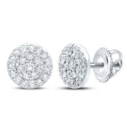 1/8 CTW Womens Round Diamond Cluster Earrings 10kt White Gold - REF-17W6H