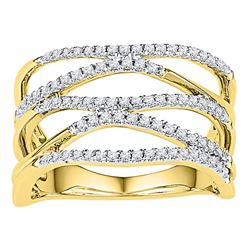 3/8 CTW Womens Round Diamond Open Strand Band Ring 10kt Yellow Gold - REF-36W2H