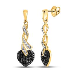 1/5 CTW Womens Round Black Color Enhanced Diamond Heart Earrings 10kt Yellow Gold - REF-20R5X