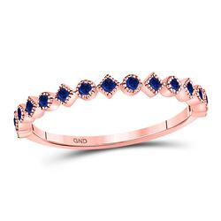 1/5 CTW Womens Round Blue Sapphire Stackable Band Ring 10kt Rose Gold - REF-16R4X