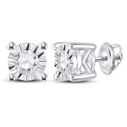 1/4 CTW Womens Round Diamond Solitaire Stud Earrings 10kt White Gold - REF-23M3F