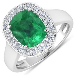 Natural 3.01 CTW Zambian Emerald & Diamond Ring 14K White Gold - REF-147N3R