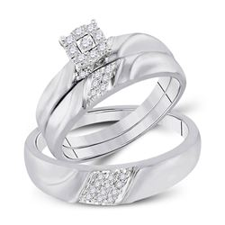 1/5 CTW His Hers Round Diamond Cluster Matching Wedding Set 10kt White Gold - REF-43Y6N