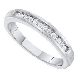 1/8 CTW Womens Round Diamond Single Row Band Ring 10kt White Gold - REF-19A2M