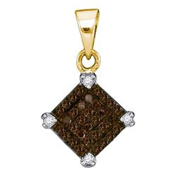 1/6 CTW Womens Round Brown Diamond Diagonal Square Pendant 10kt Yellow Gold - REF-8N3A