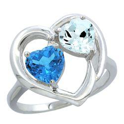 2.61 CTW Diamond, Swiss Blue Topaz & Aquamarine Ring 14K White Gold - REF-38Y2V