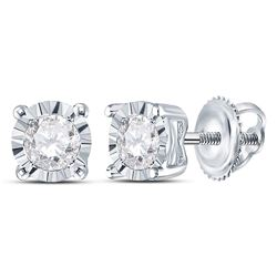 1/3 CTW Womens Round Diamond Solitaire Stud Earrings 10kt White Gold - REF-37H5R