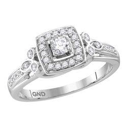 1/3 CTW Round Diamond Round Halo Bridal Wedding Engagement Ring 10kt White Gold - REF-45H2R