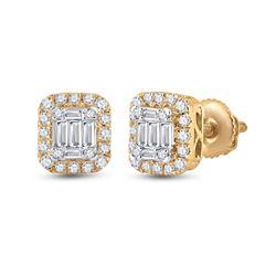 1/2 CTW Womens Baguette Diamond Square Cluster Earrings 14kt Yellow Gold - REF-47T6V
