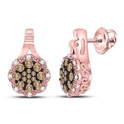 1/2 CTW Womens Round Brown Diamond Cluster Earrings 14kt Rose Gold - REF-47T6V