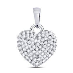 3/8 CTW Womens Round Diamond Fashion Heart Pendant 10kt White Gold - REF-28R5X