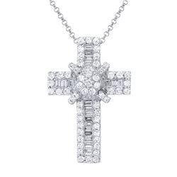 1.1 CTW Diamond Necklace 18K White Gold - REF-123H7M