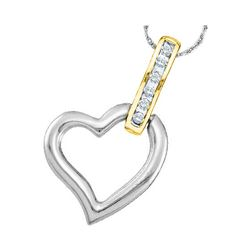 1/20 CTW Womens Round Diamond Heart Pendant 10kt Two-tone Gold - REF-8N9A