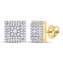 1/2 CTW Womens Round Diamond Square Earrings 10kt Yellow Gold - REF-40N8A